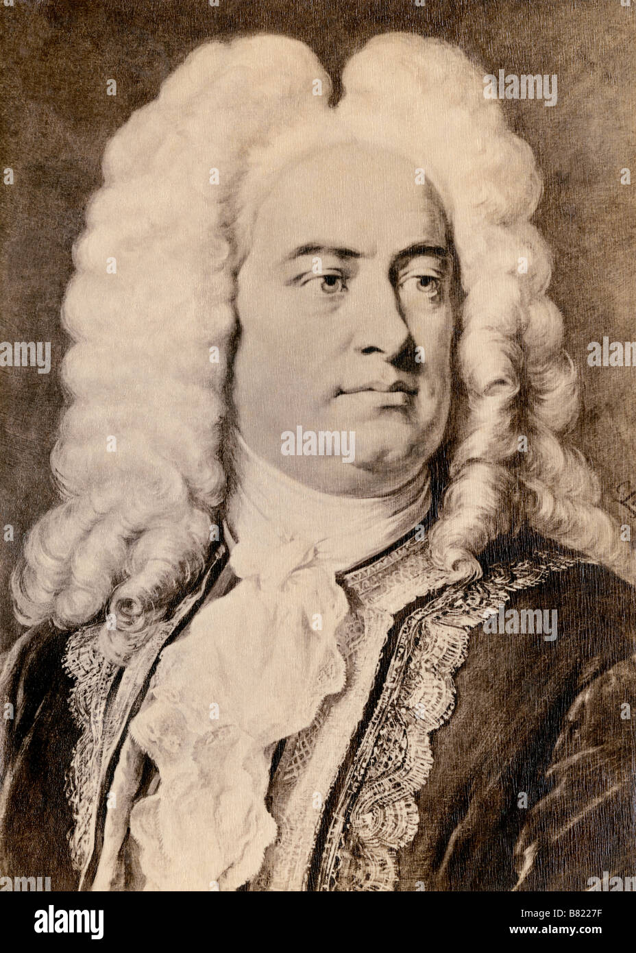 Georg Friedrich Handel. Photograph of a portrait by Jager - Stock Image