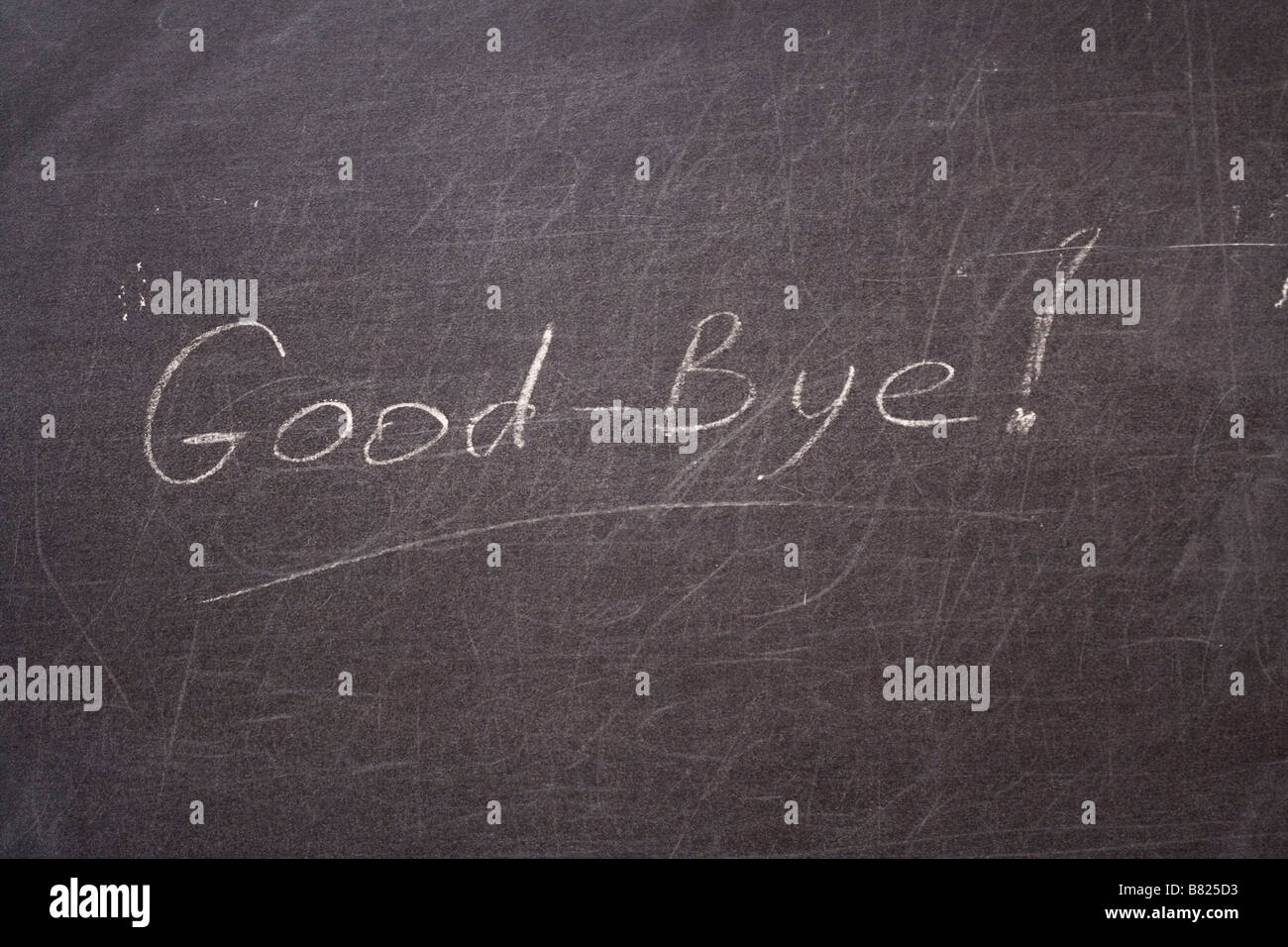 Good bye Word written on school board - Stock Image