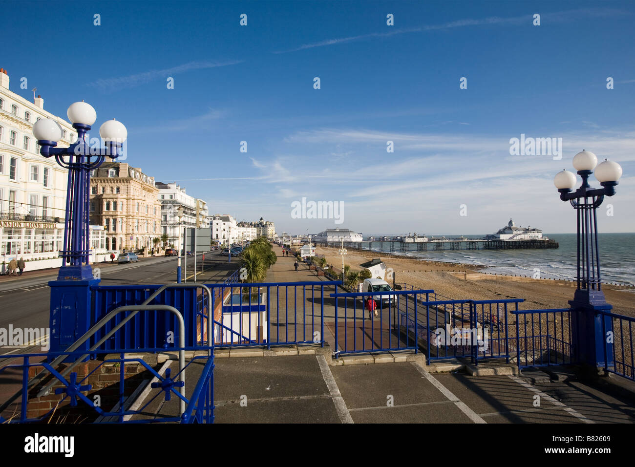 The Promonade and Eastbourne Pier in East Sussex GB UK Stock Photo