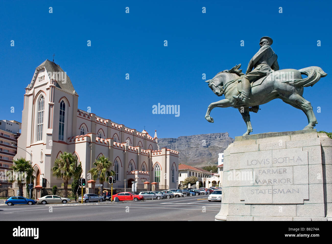 Louis Botha Monument and St. Mary Cathedral Cape South Africa - Stock Image
