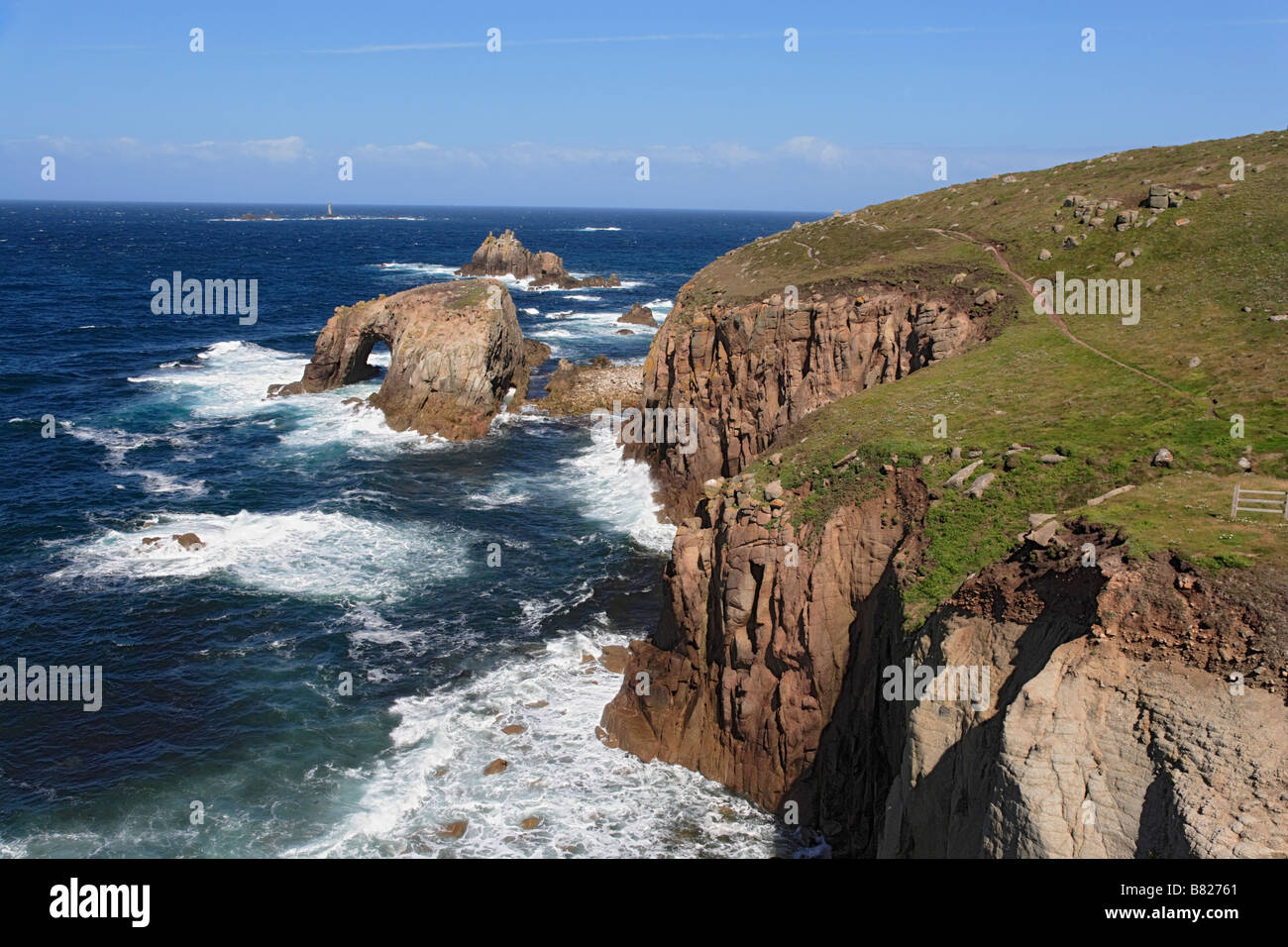 Land s End Penwith Penisnula Cornwall England United Kingdom - Stock Image