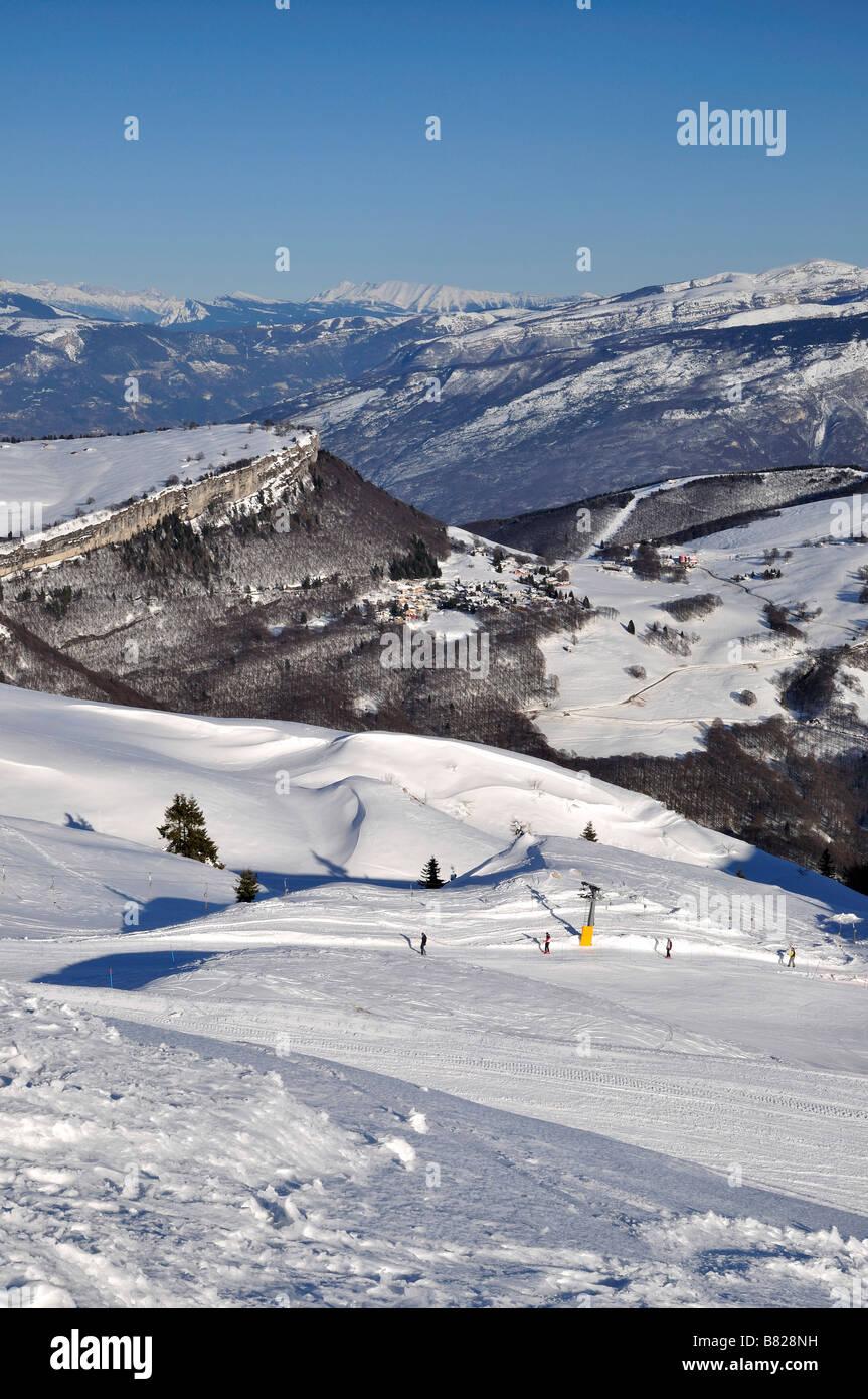 ski slopes of Monte Baldo Northern Italy - Stock Image