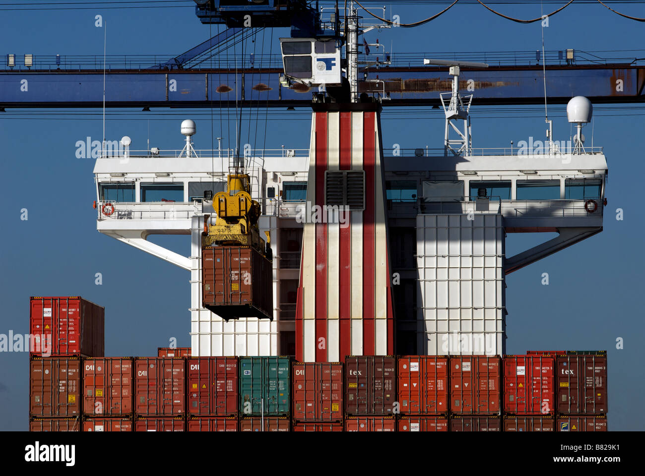 Container ship, port of Felixstowe, Suffolk, UK. - Stock Image