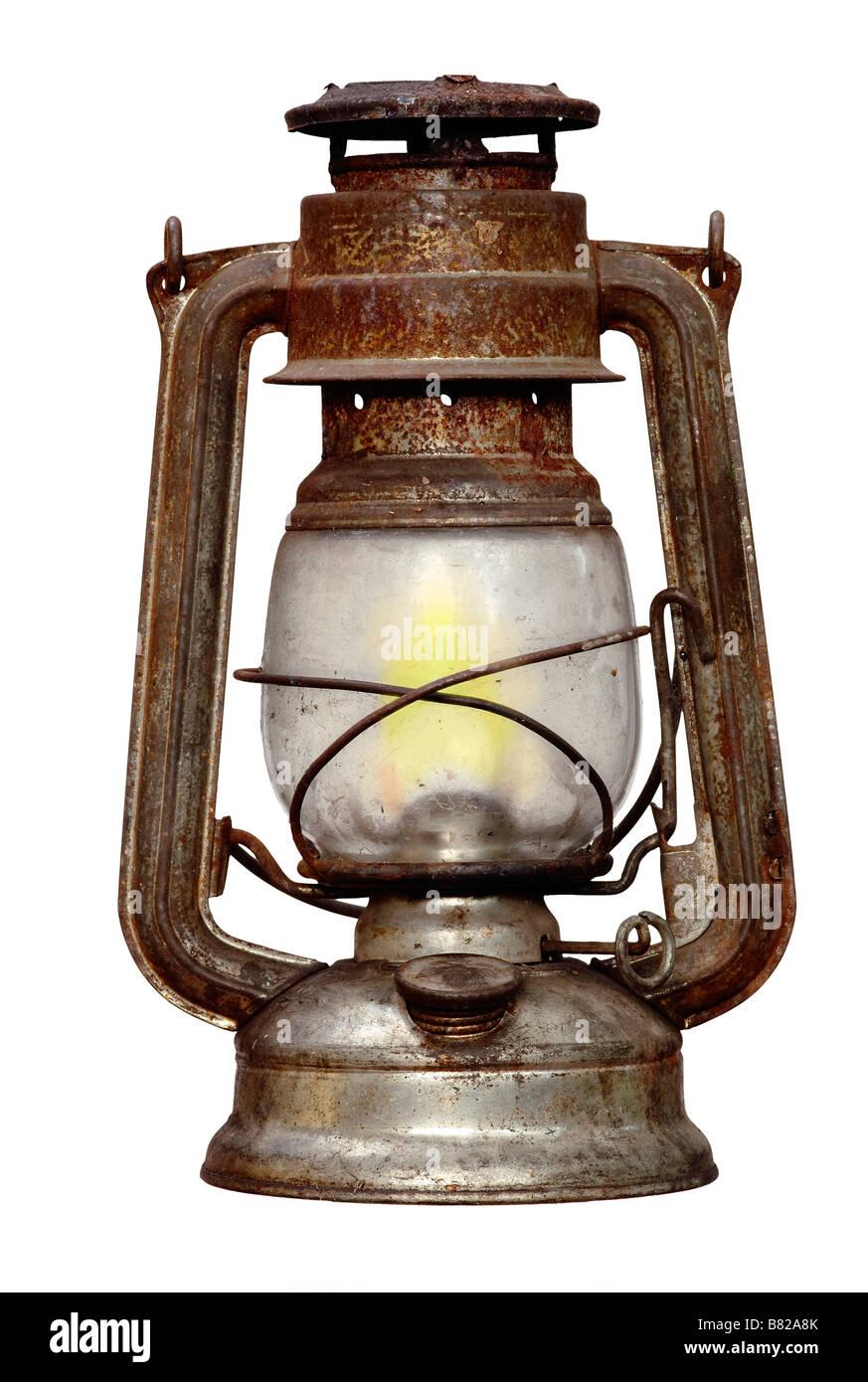 antique time-worn kerosene lamp - Stock Image