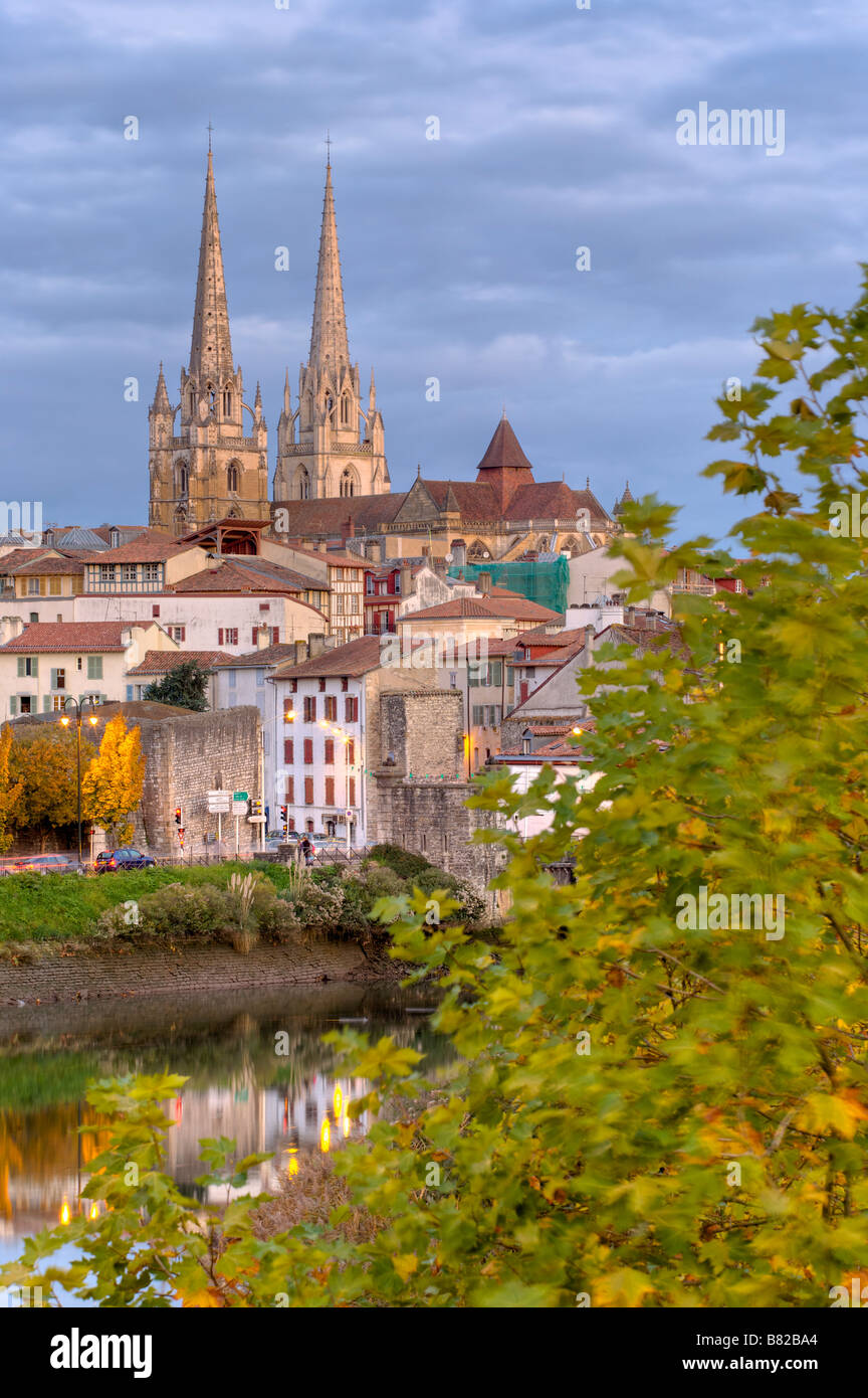 Nive river and the cathedral of Bayonne Pays Basque France - Stock Image