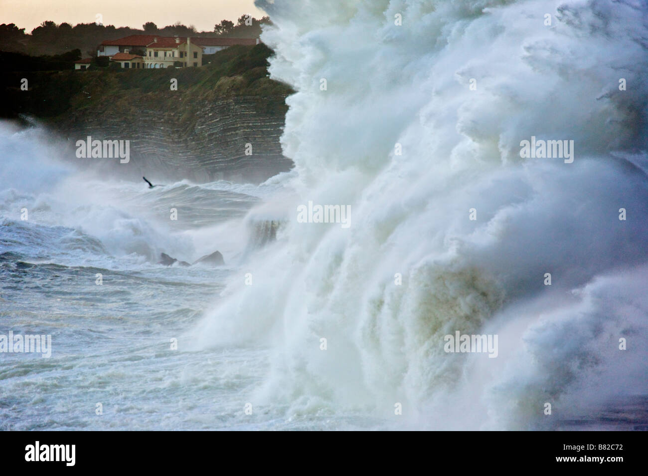Klaus storm waves breaking on Soccoa dike Pays Basque France Stock Photo