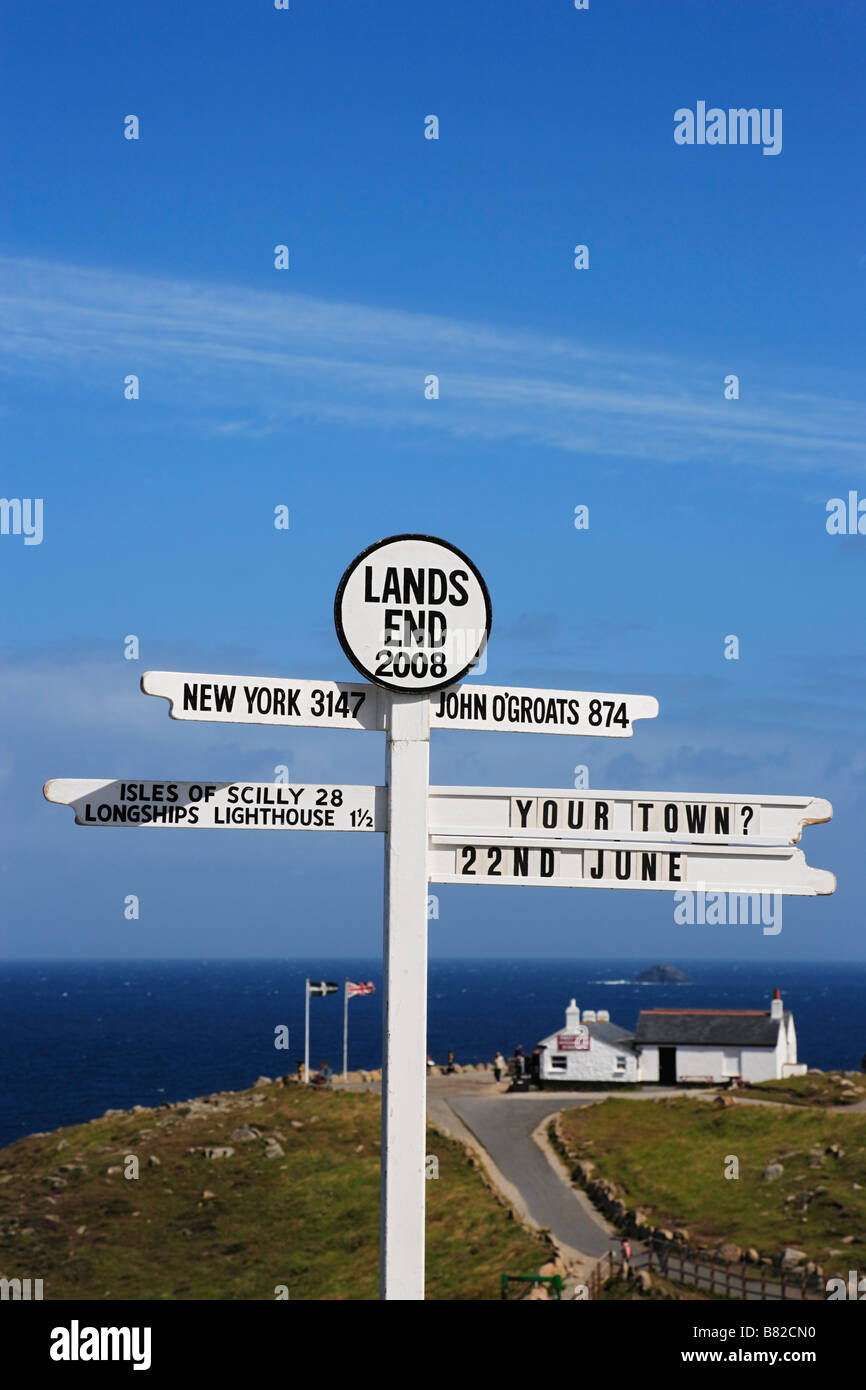 Signpost at Land s End Penwith peninsula Cornwall England United Kingdom - Stock Image