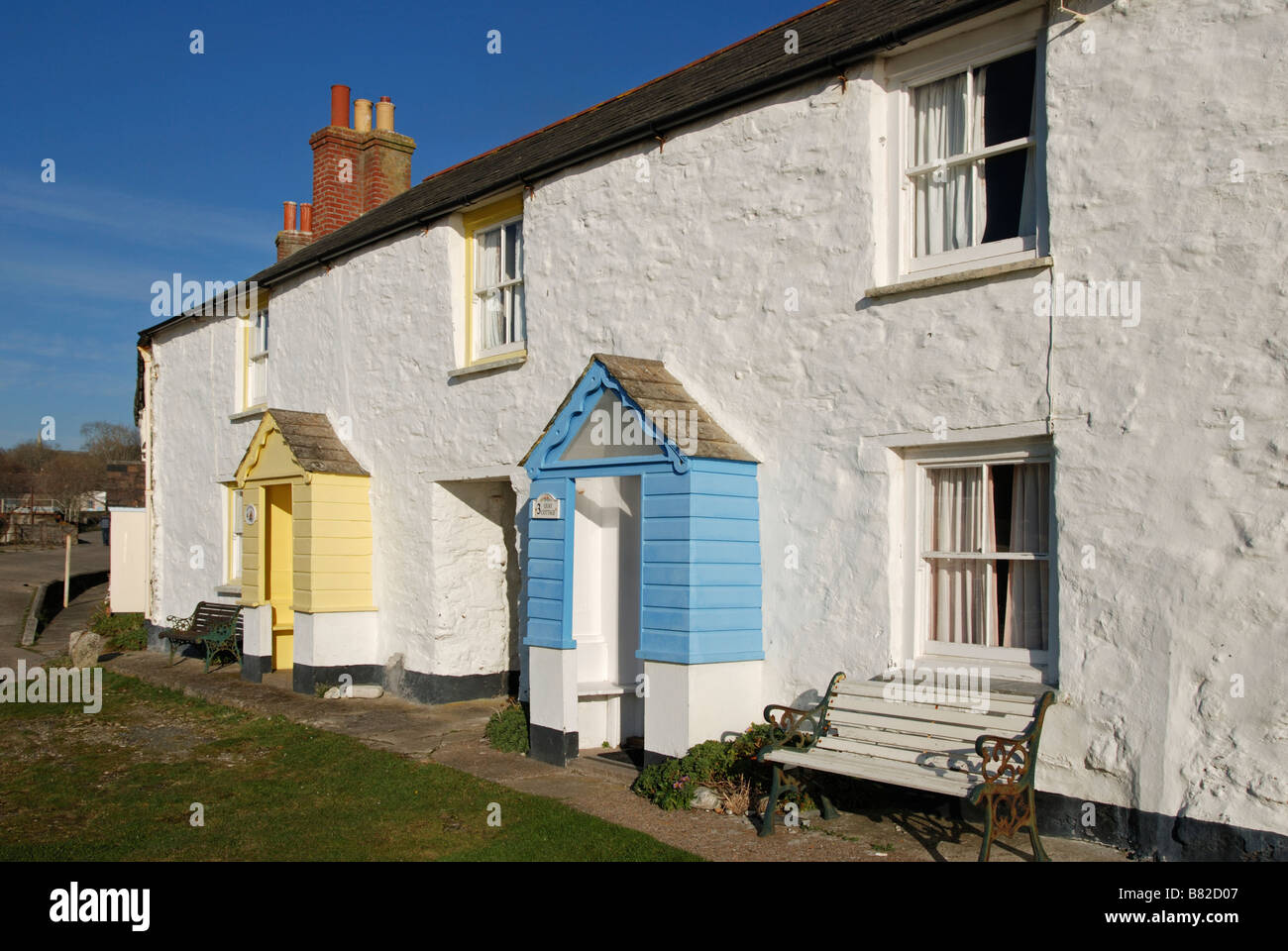 traditional fishermens cottages at charlestown,cornwall,uk - Stock Image