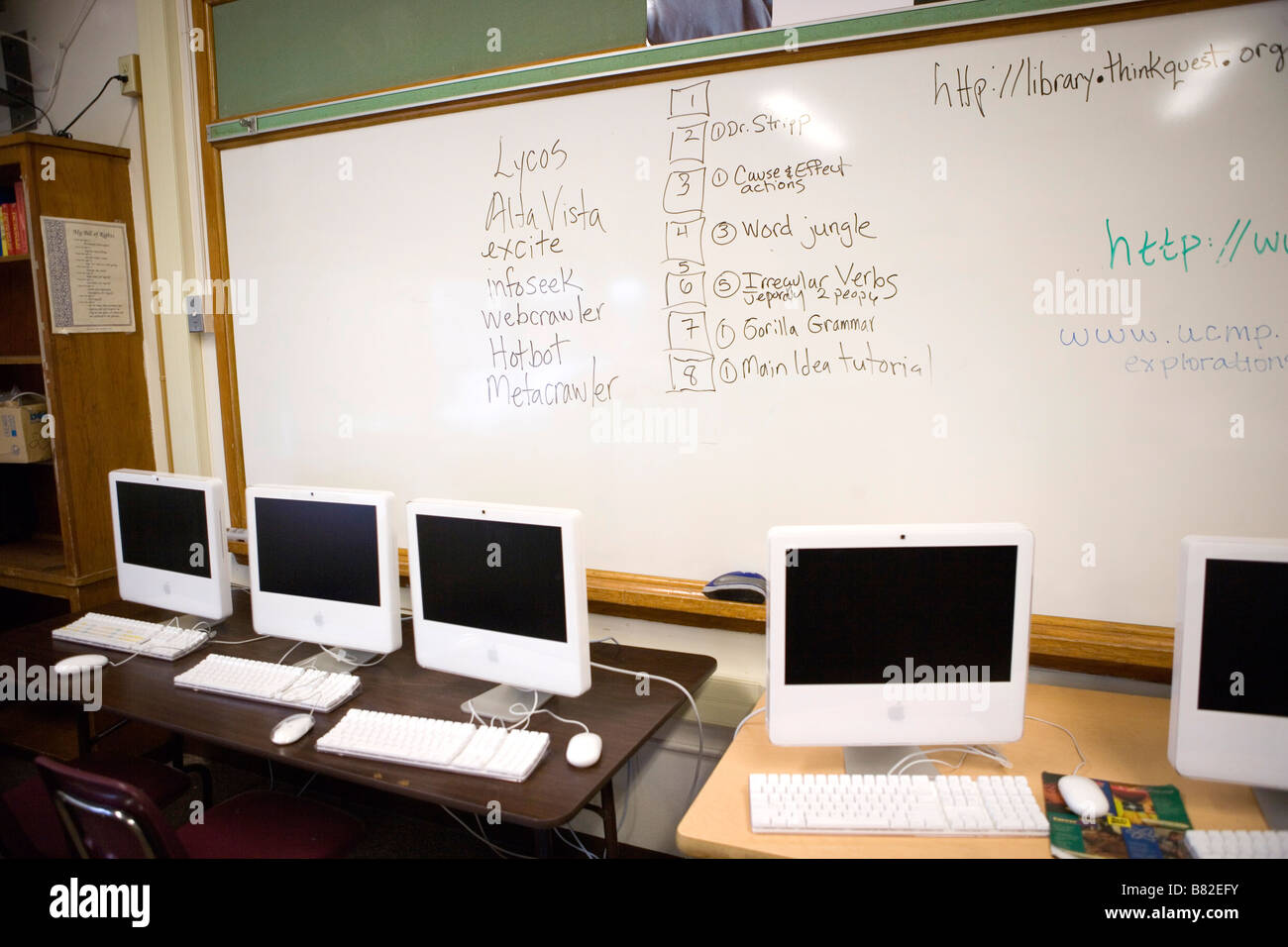 computer lab in public middle school, Mac computers, USA - Stock Image