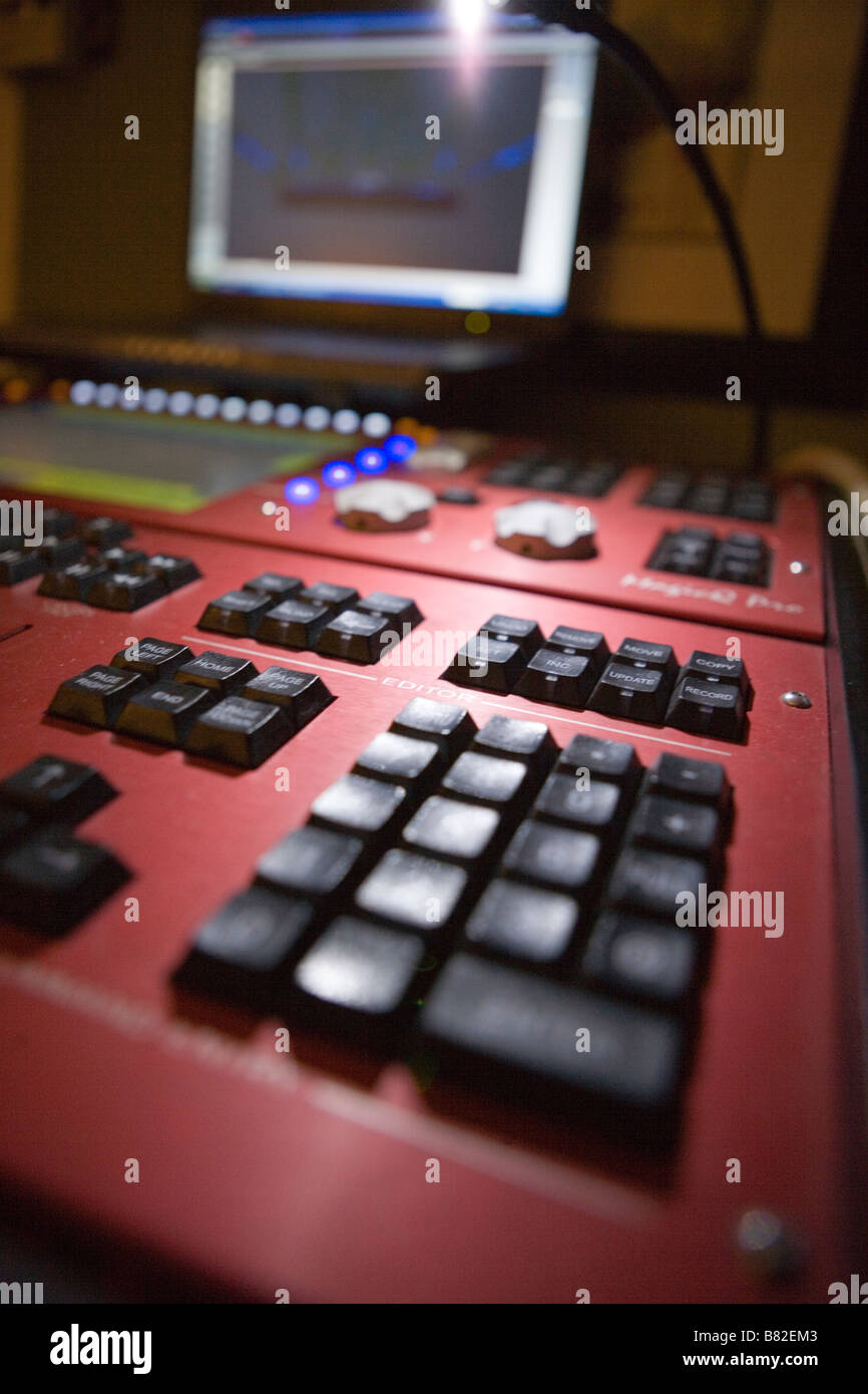 lighting console for concert lighting design, lighting designer studio - Stock Image