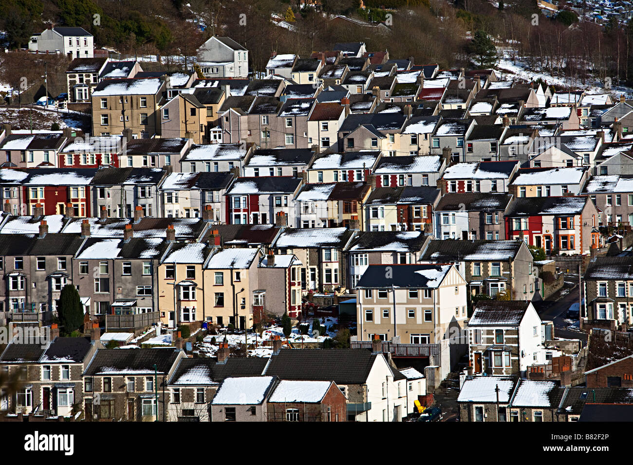Town of Six Bells in the South Wales valleys in winter with snow on rooftops Wales UK - Stock Image