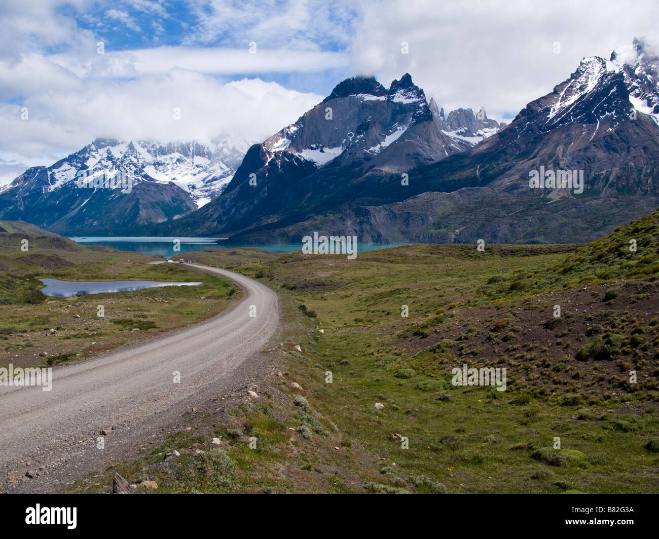 Open winding road Torres del Paine National Park, Patagonia, Chile,South America - Stock Image