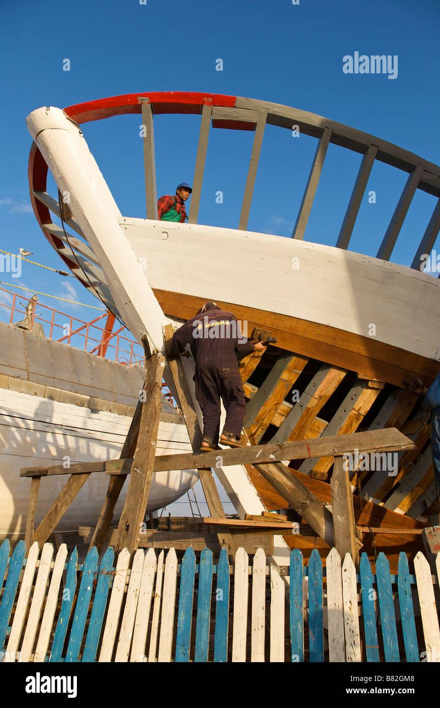 Trawler under construction in the shipyard of Essaouira Morocco - Stock Image