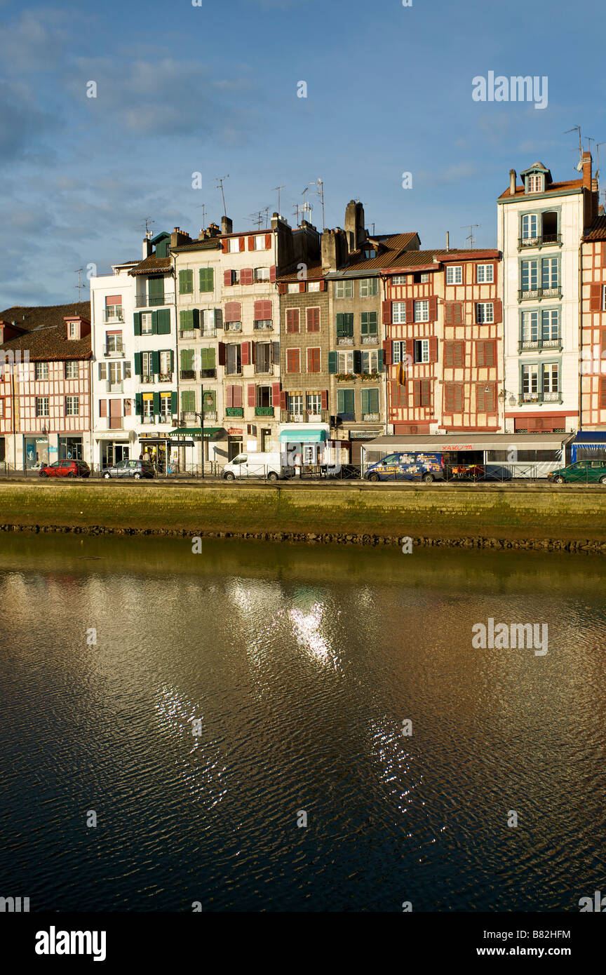 Nive river in the city of Bayonne Pays Basque France - Stock Image