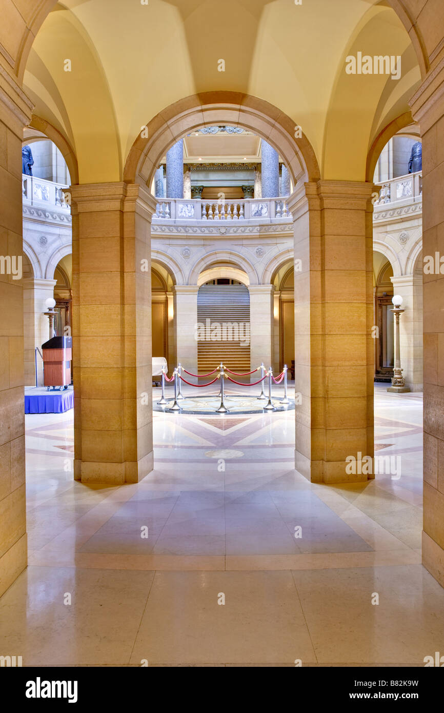 View from a hallway into the rotunda of the Minnesota State Capital. - Stock Image
