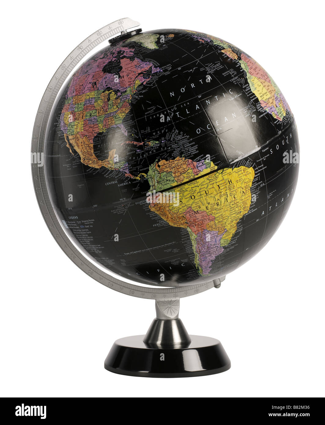 Black World Globe - Stock Image