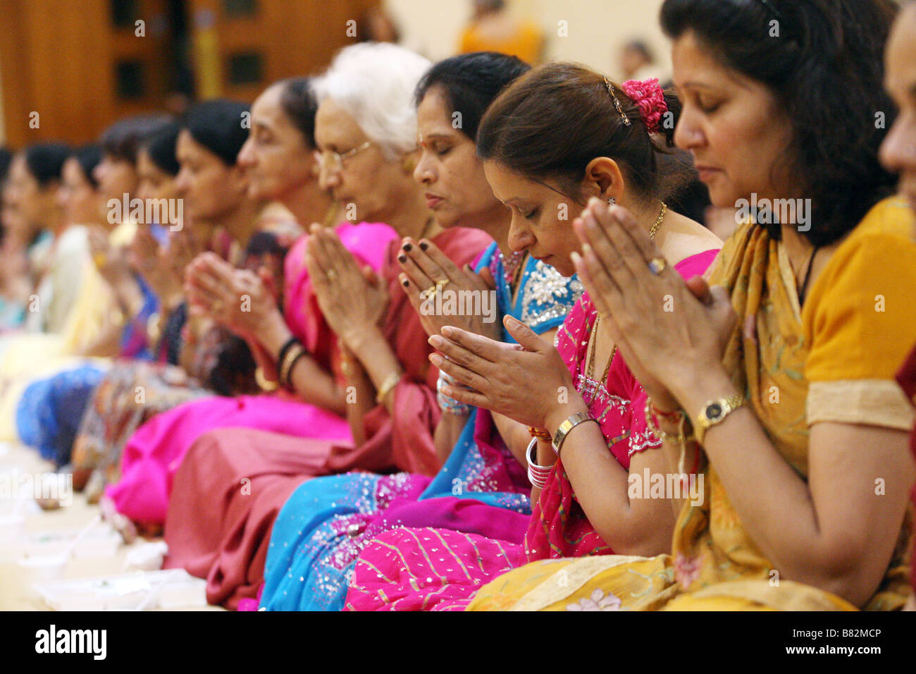 Women celebrating Diwali at Shri Swaminarayan Mandir Temple in Neasden, North west London - Stock Image