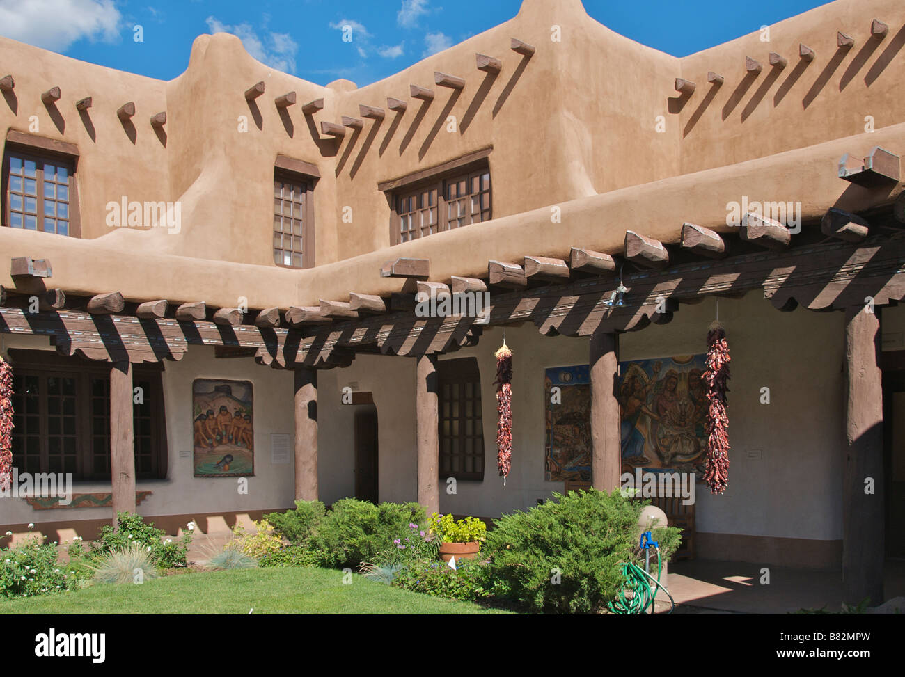Courtyard with typical adobe architecture Fine Arts Museum Santa Fe New Mexico USA - Stock Image