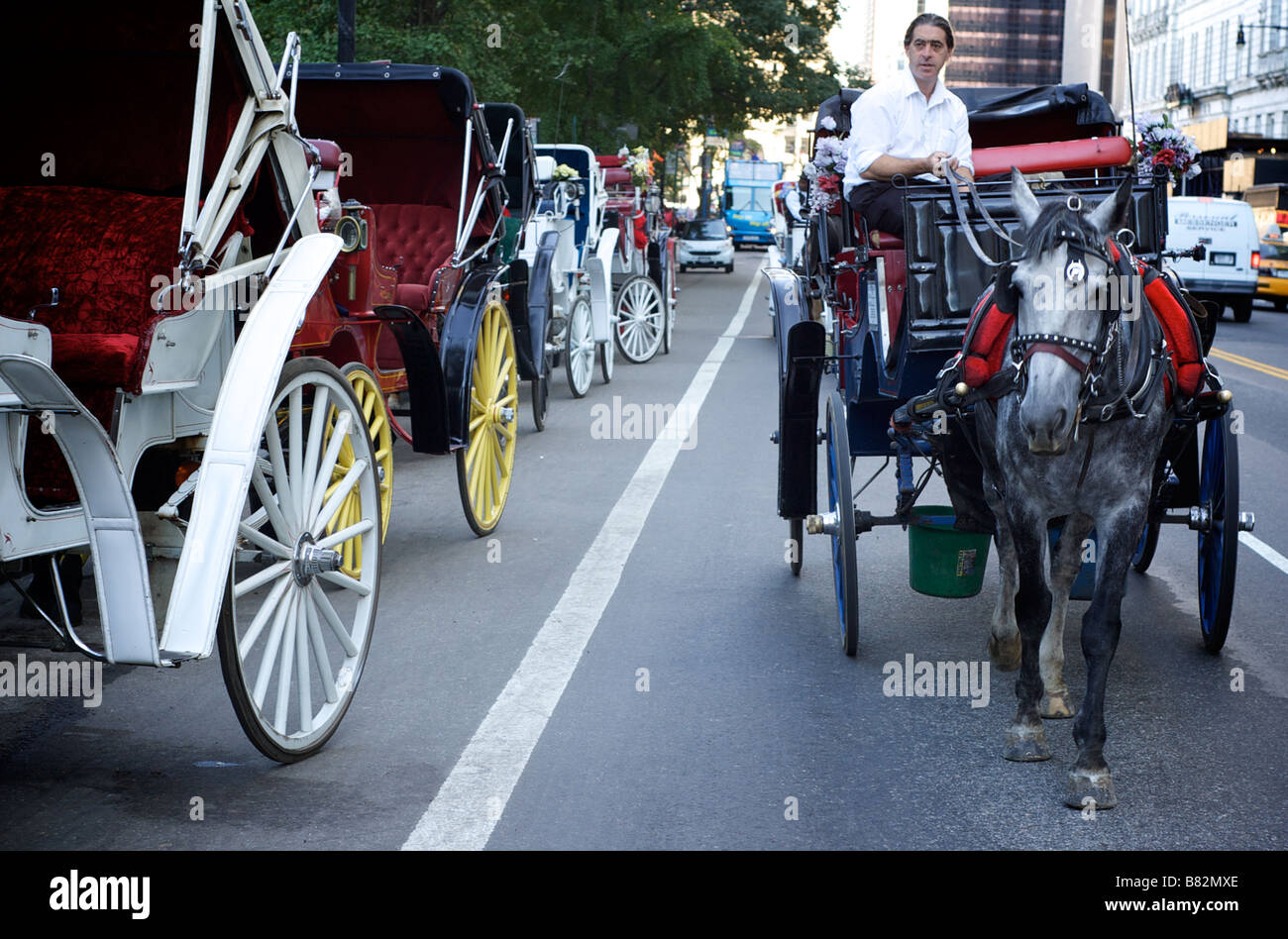 Horse Carriage and Driver Stroll Along West 59th Street / Central Park South Street in New York City, NY USA (For - Stock Image