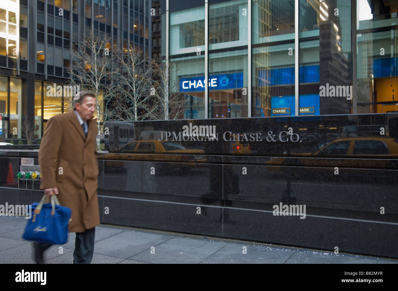 The sign outside the JP Morgan Chase headquarters in New York City on Wednesday February 4 2009 Frances M Roberts Stock Photo