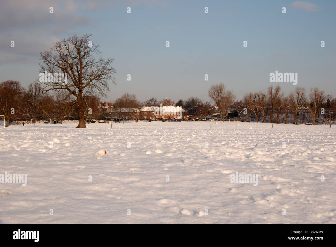 montrose park during winter at edgware london england uk stock