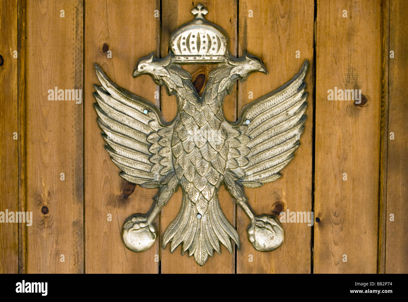 Double-headed eagle emblem of the Greek Orthodox on the door of Agios Nicolas (Alasa) Church near Kouris Dam. South Stock Photo