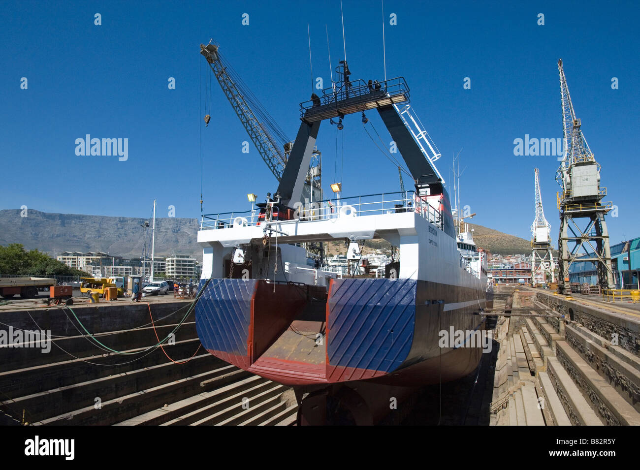 Fish trawler in a dry dock in Cape Town South Africa - Stock Image