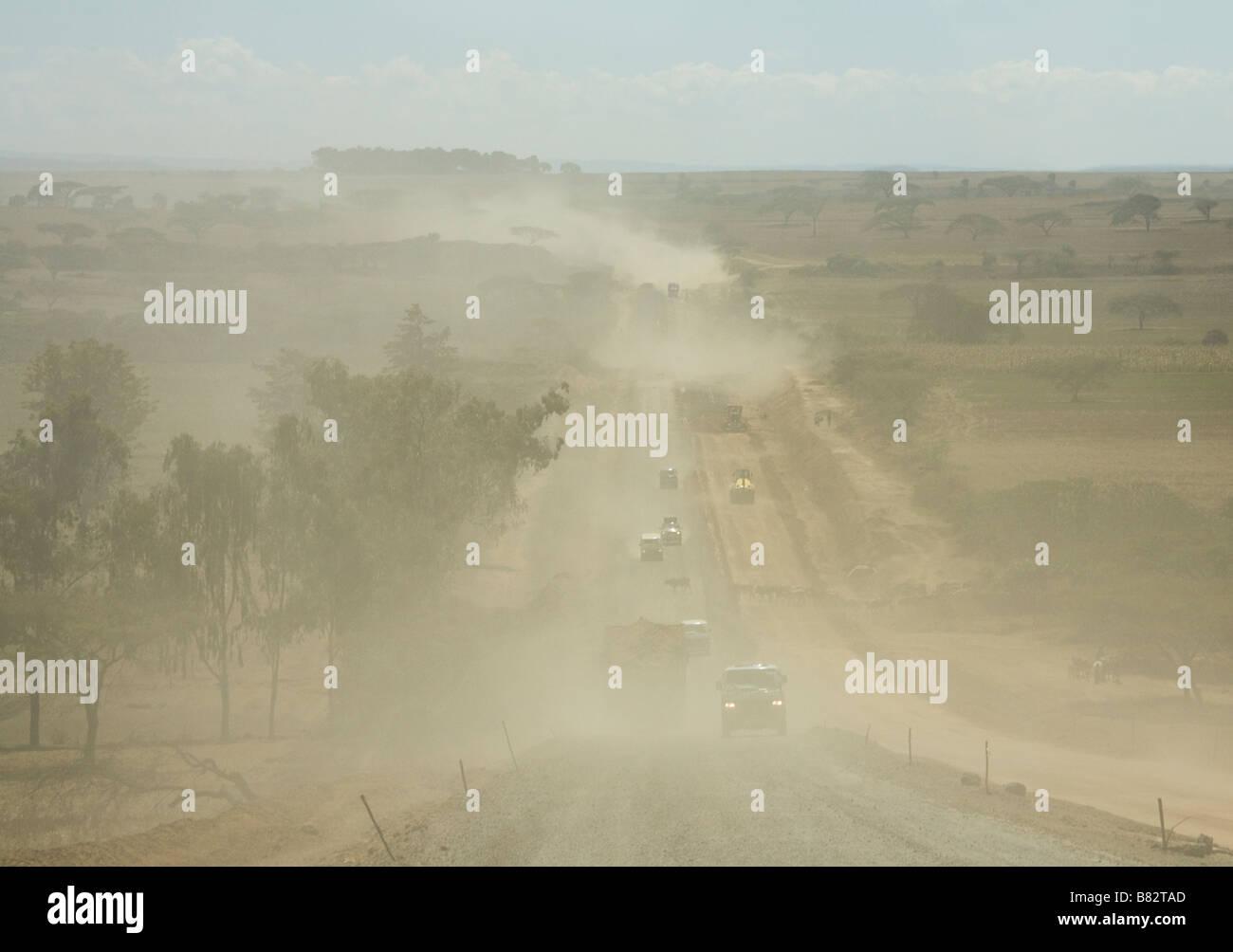 Road construction work on the B3 main road to Nairobi from the Masai Mara - Stock Image