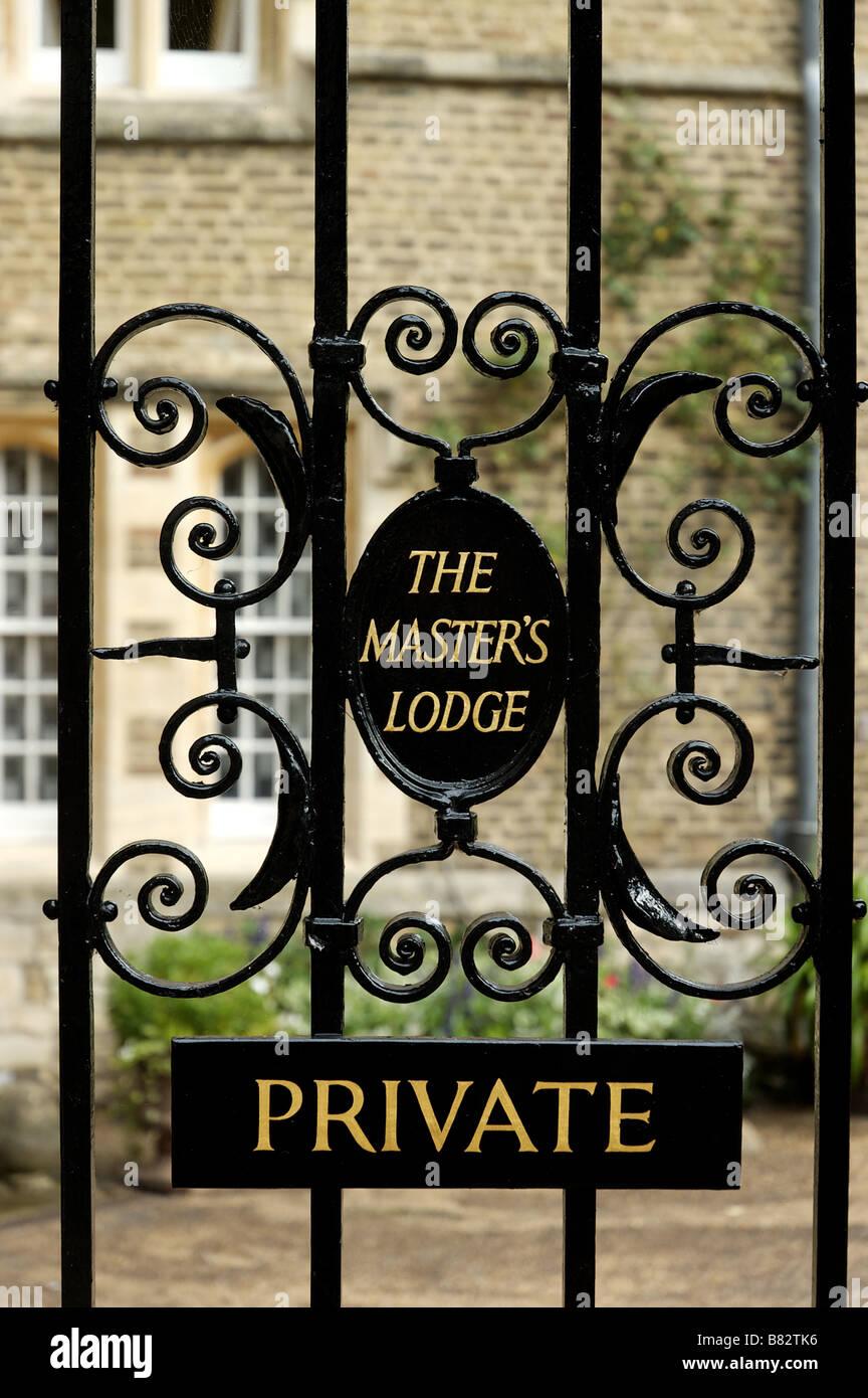 A gate in Jesus College Cambridge marked Private The Masters Lodge Stock Photo