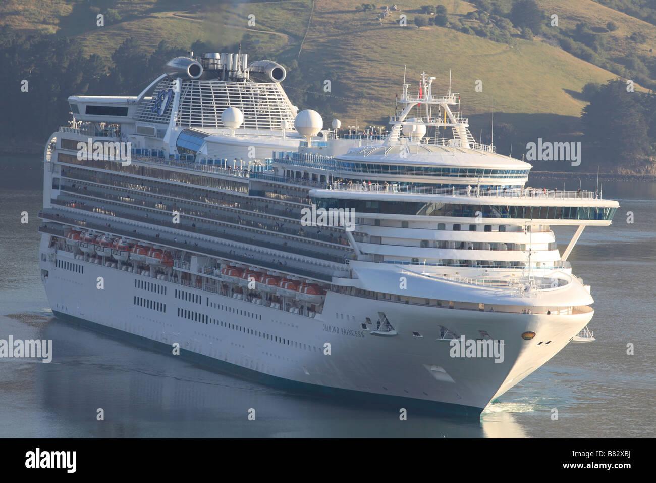 Diamond Princess approaching Port Chalmers,New Zealand - Stock Image