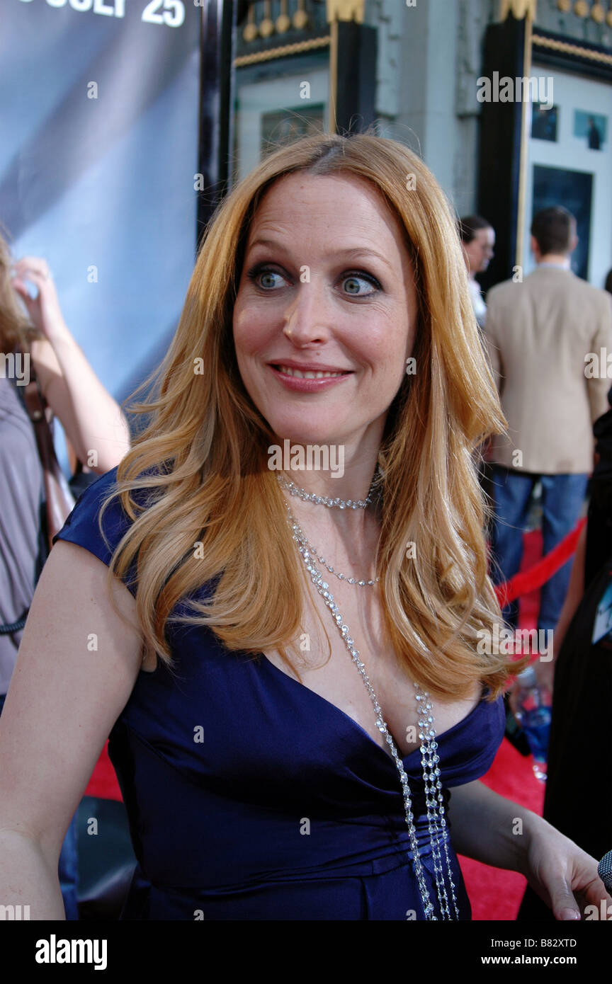 Actress Gillian Anderson attends the U.S. premiere of The X-Files: I Want to Believe at Mann Grauman's Chinese - Stock Image
