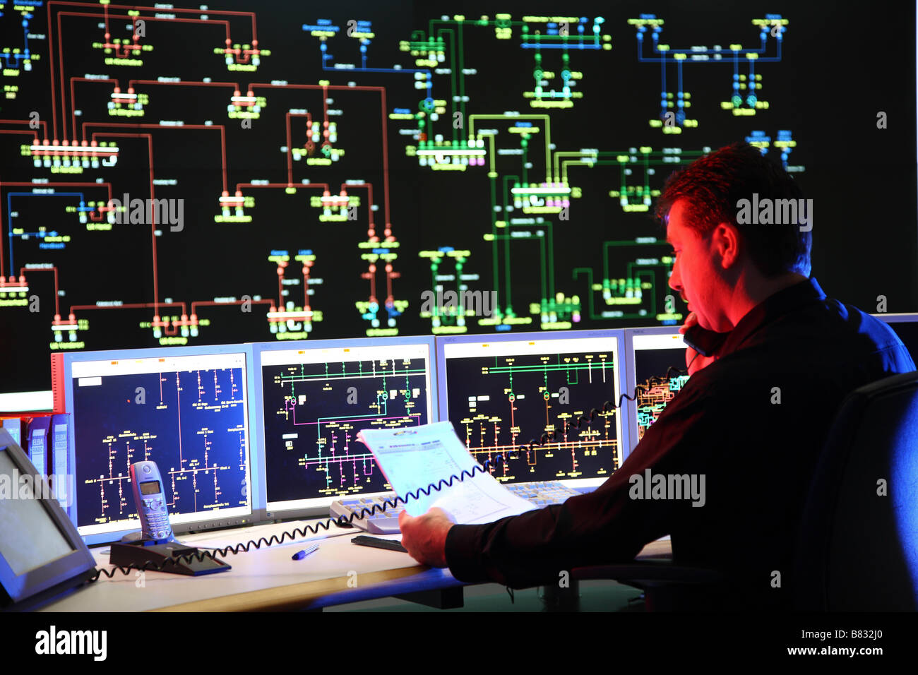 Central energy control room for electricity and gas ELE Energy company, Gladbeck, Germany - Stock Image