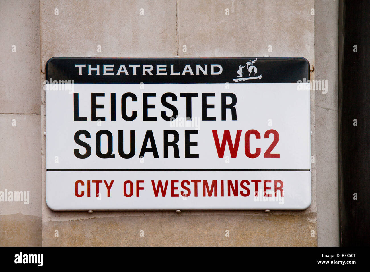 Street sign for Leicester Square, Westminster, London.  Jan 2009 Stock Photo