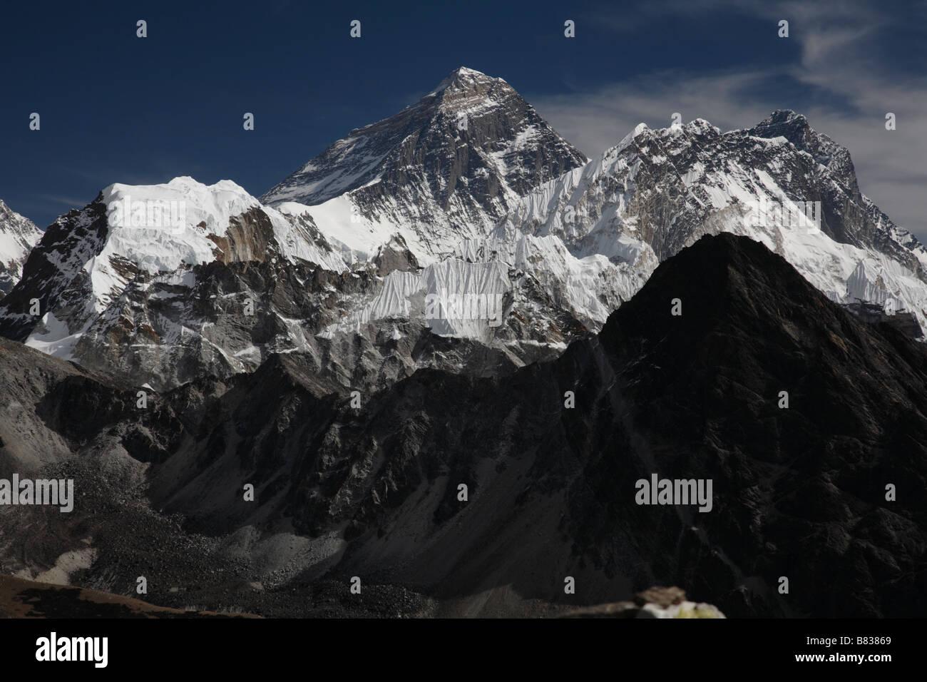 Everest range and Ngozumba Glacier from summit of Gokyo Ri - Stock Image