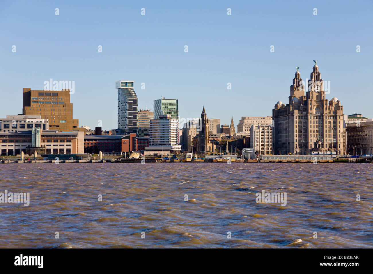 Skyline and River Mersey, Liverpool, Merseyside, England - Stock Image