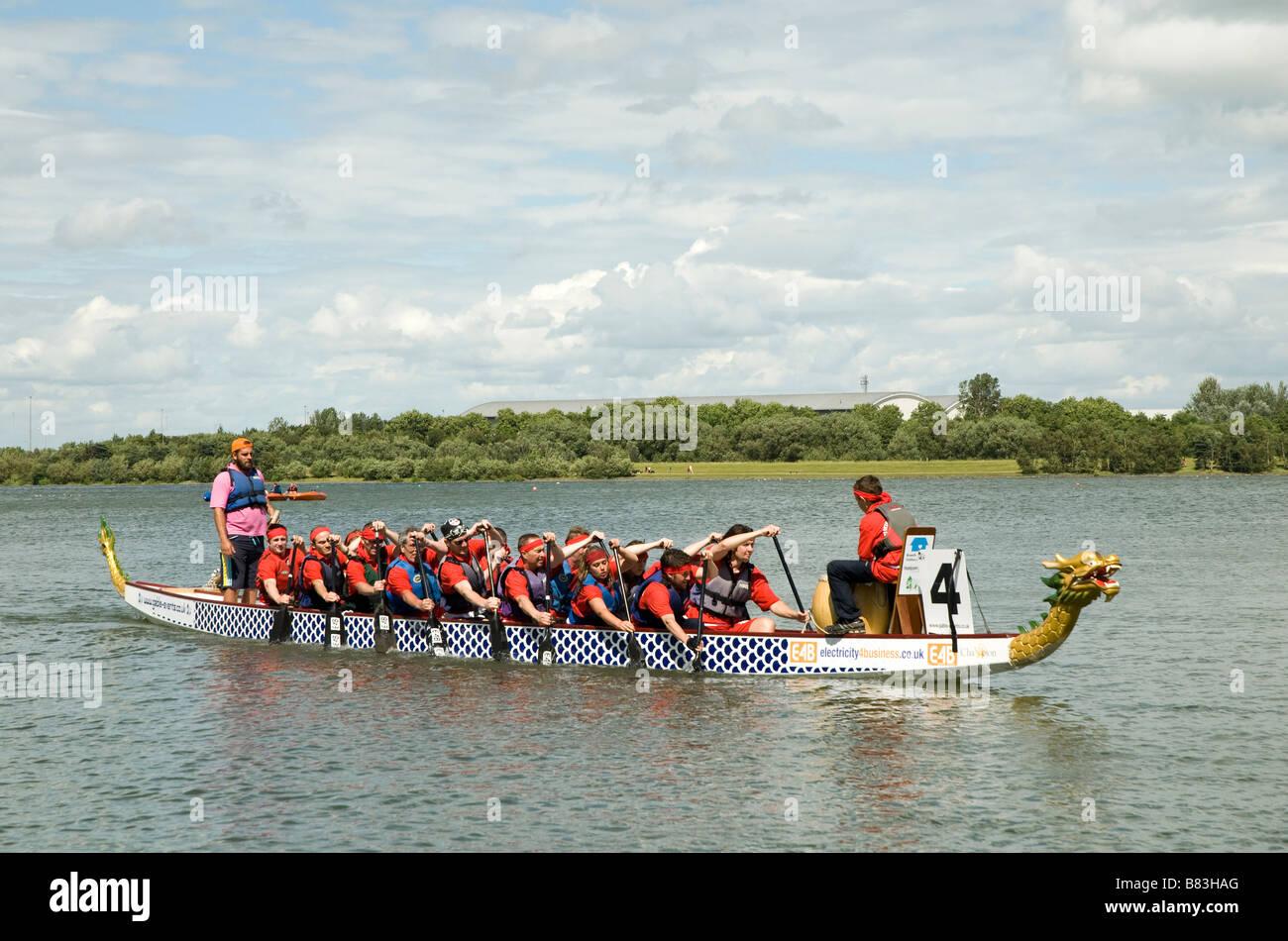 Dragon boat racing in Milton Keynes - Stock Image