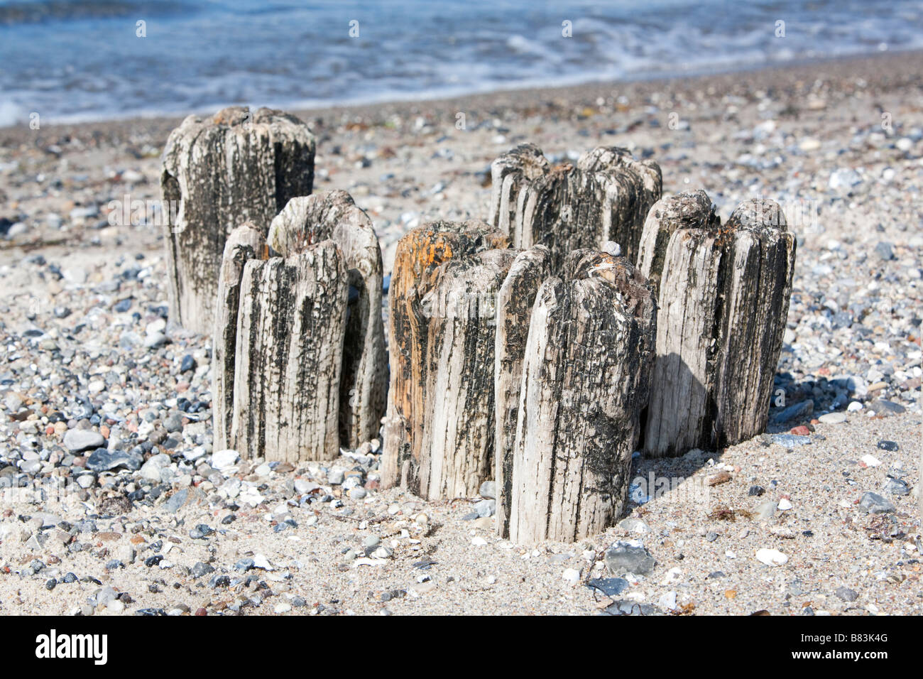 Old breakwaters on a beach near the harbour of Heiligenhafen, Germany. - Stock Image