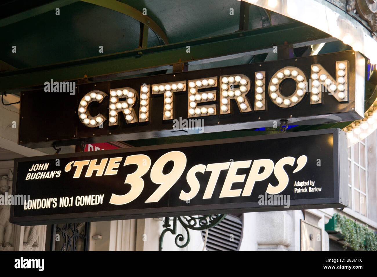 Advertising sign for 'The 39 Steps' above the entrance to the Criterion Theatre London.  Jan 2009 - Stock Image