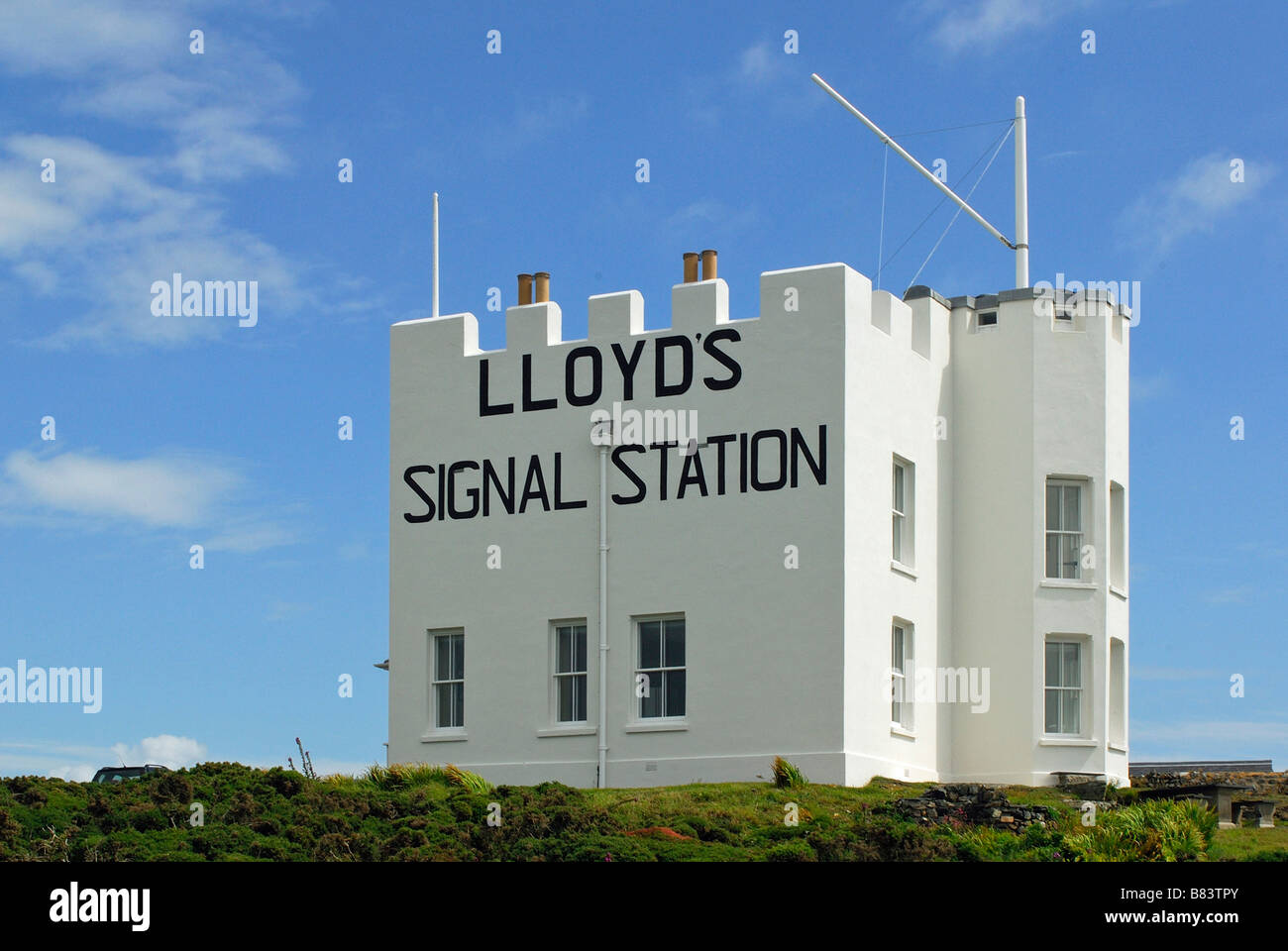 Lloyds signal station Housel Bay Lizard Cornwall UK - Stock Image