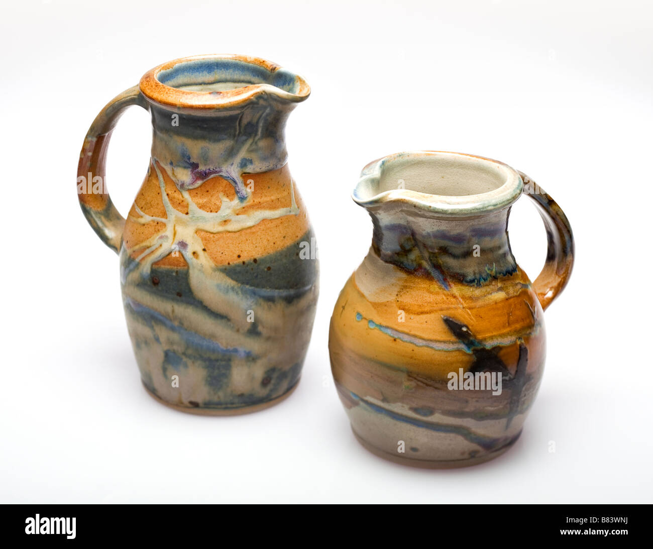 Two jugs made by the Edinbane pottery on the Isle of Skye Scotland UK - Stock Image