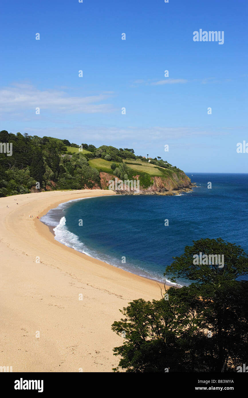 View over Blackpool Sands Devon England United Kingdom - Stock Image