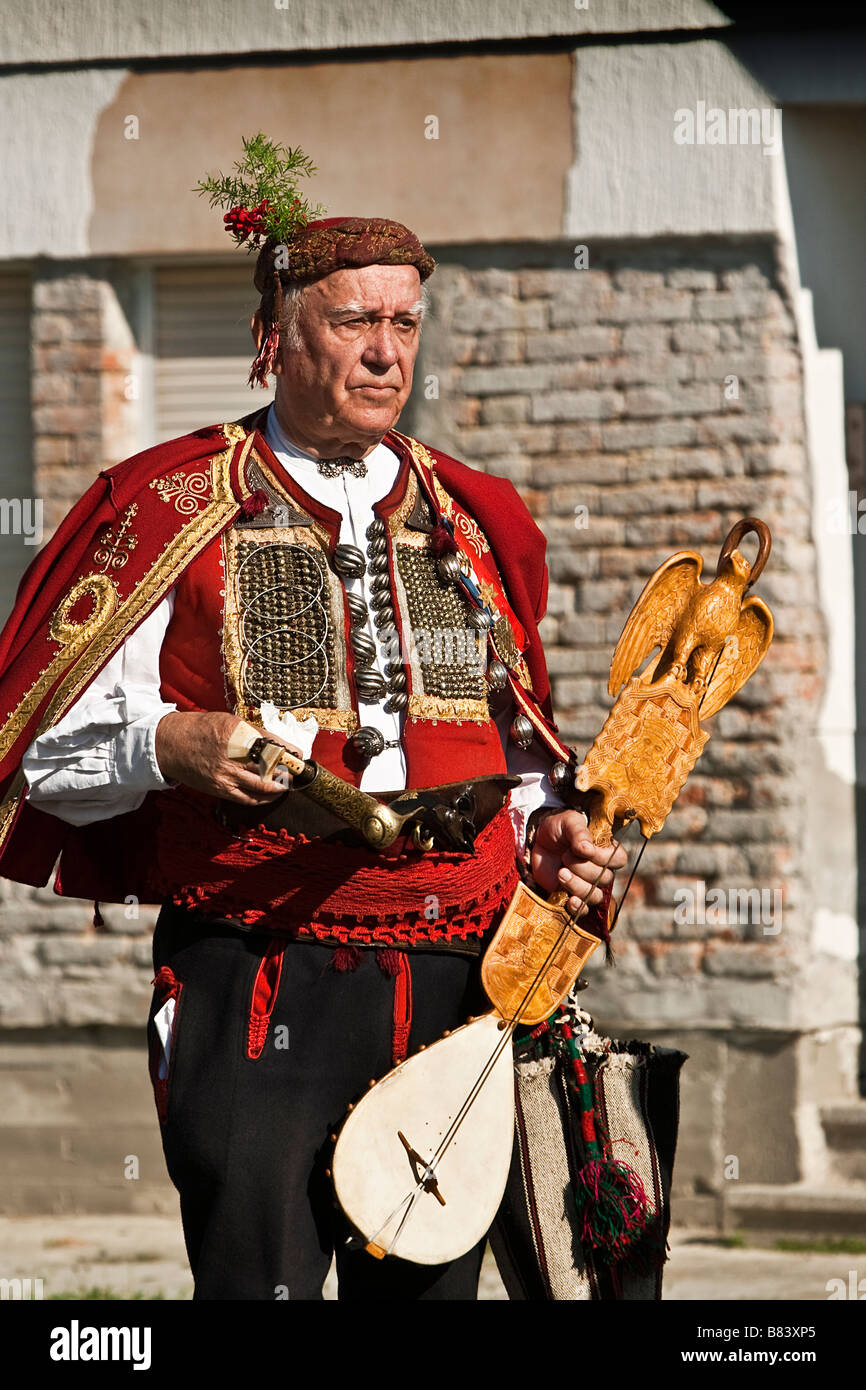 Old man in the traditional Croatian folklore costume - Stock Image