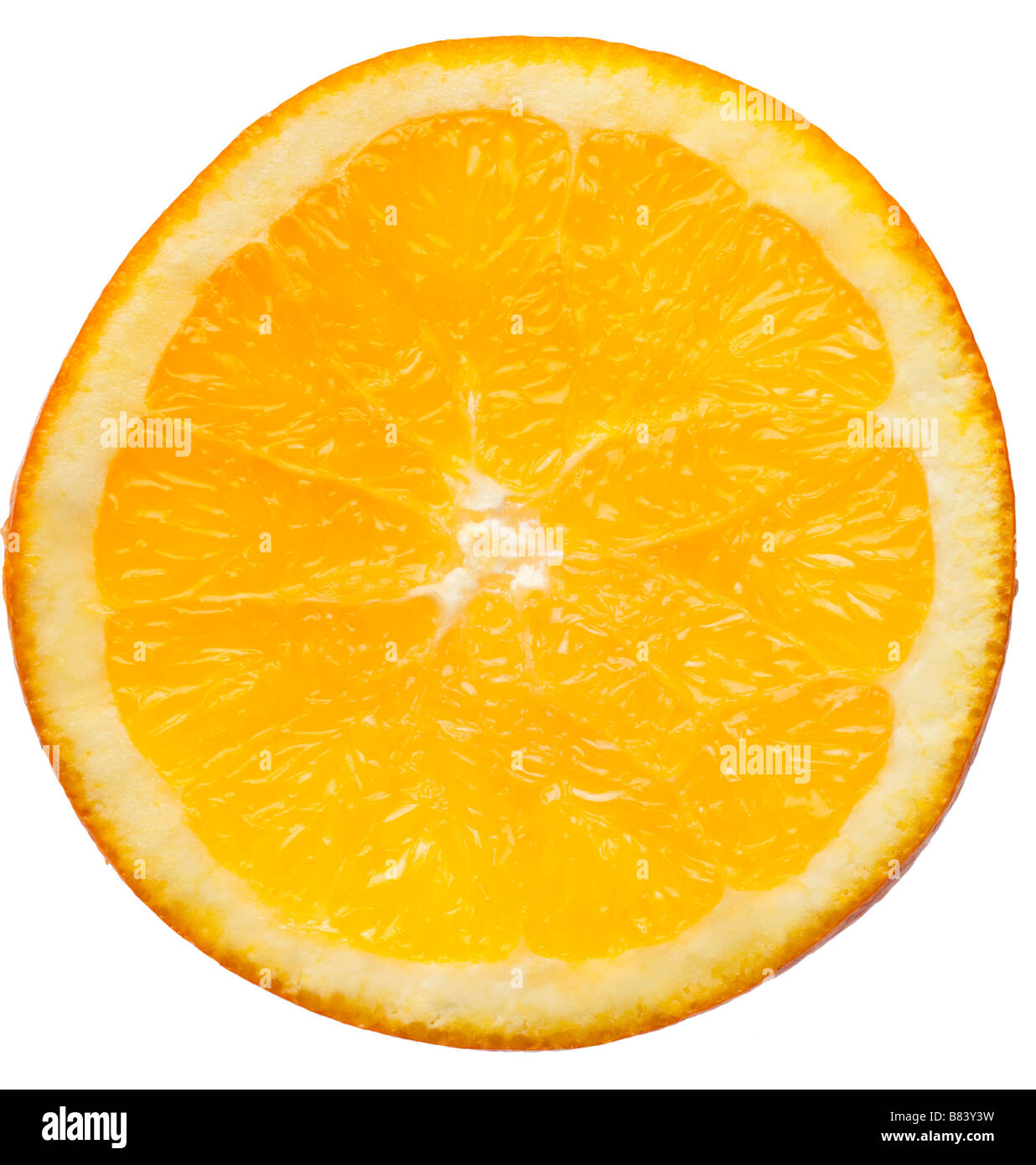Slice of orange on white closeup - Stock Image