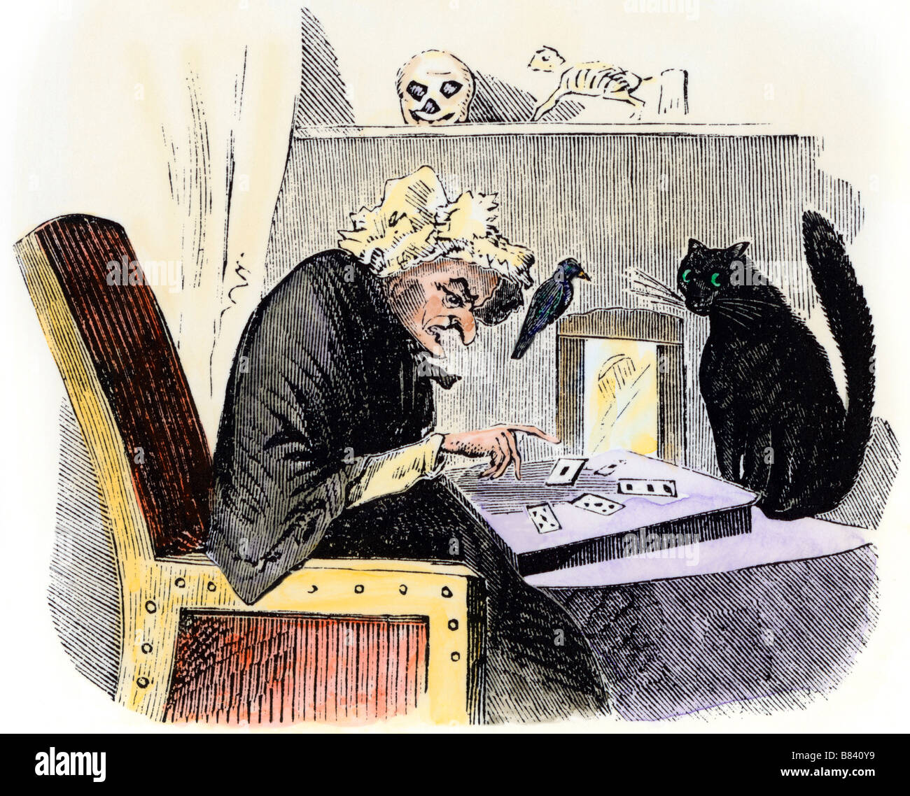 Witch casting a spell accompanied by a raven and a black cat. Hand-colored woodcut - Stock Image