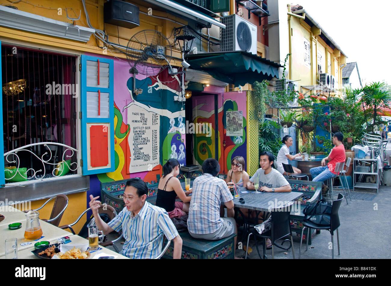 Arab Quarter Singapore Kampong Glam terrace pavement restaurant bar cafe - Stock Image