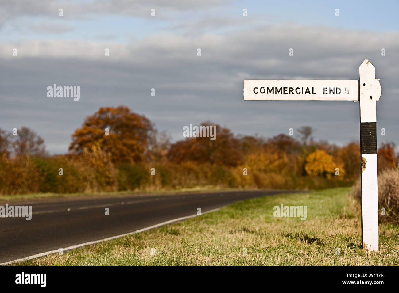Sign Showing the Way to the Commercial End, Cambs, UK - Stock Image