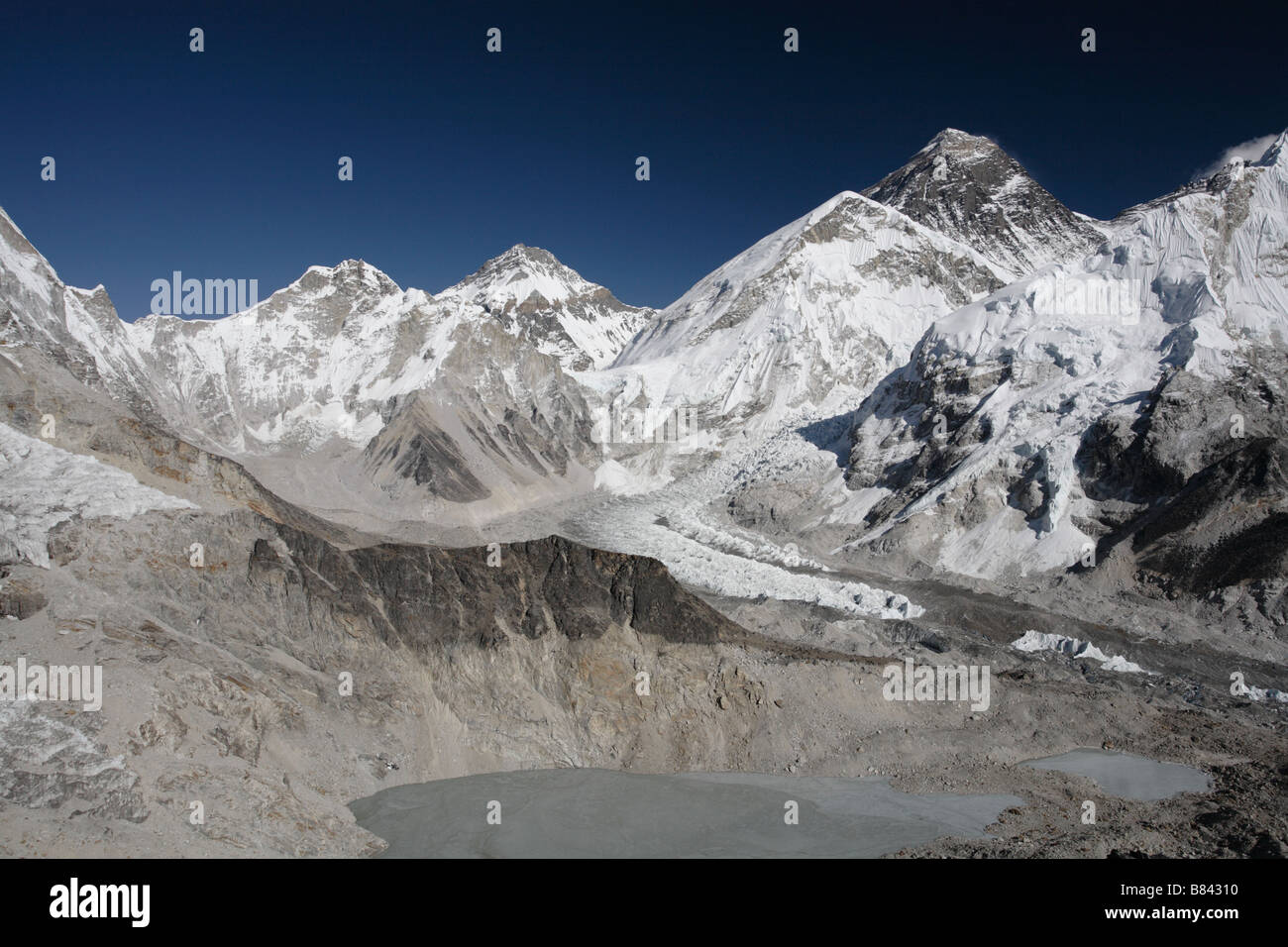 View of the Everest mountain range from the summit of Kala Patthar - Stock Image