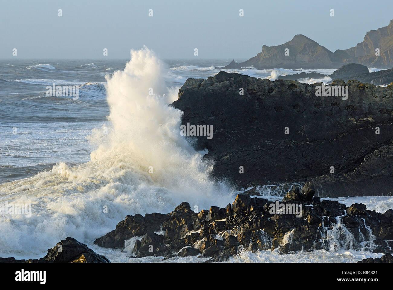 Rough seascape Devon North coast UK - Stock Image