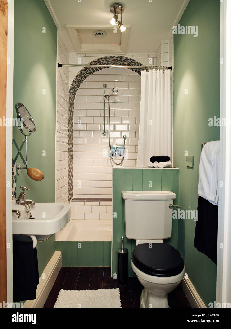 small bathroom with shower toilet and sink Stock Photo: 22218078 - Alamy