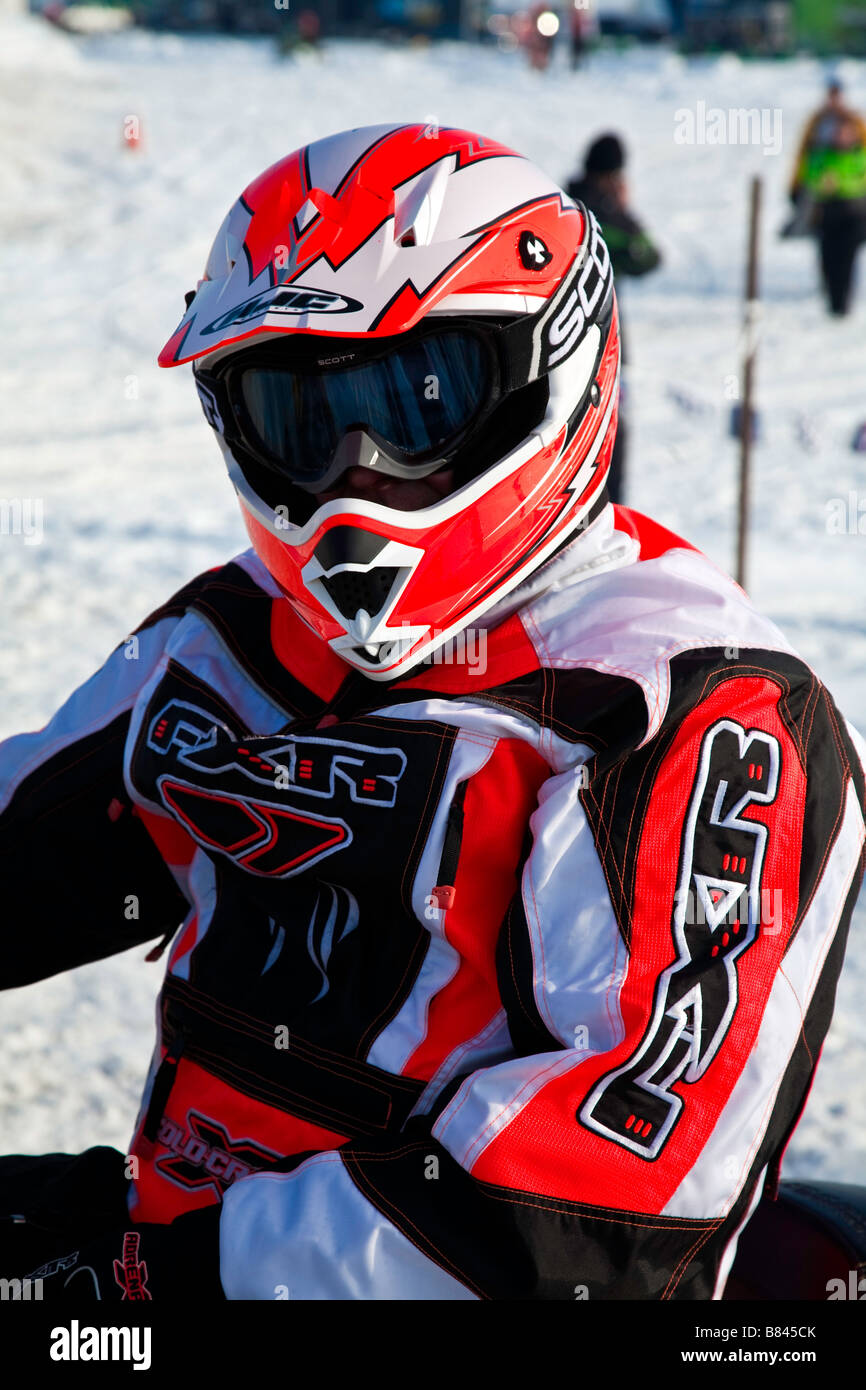 Canadian North American Snowcross or Snowmobile Race - Stock Image